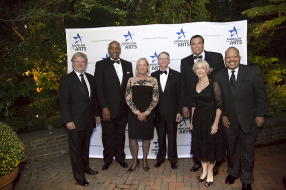 Robert L. Lynch, President and CEO of Americans for the Arts (left) with members of the Americans for the Arts Board of Directors and the BCA Executive Board at the BCA 10 gala (from left to right) Edgar Smith, Deborah Jordy, Michael Spring, Robert Lamb, III, Julie Muraco, and Floyd W. Green, III. Photo by Rana Faure at Americans for the Arts' BCA 10 gala.