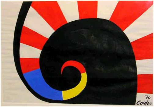 """Black on Black Spirals,"" by Alexander Calder, 1970, gouache. From the Ross Art Collection at the Ross School of Business, University of Michigan"