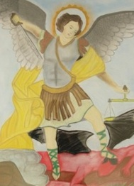 """St. Michael Conquers the Demon,"" photo courtesy of The Art Therapy Program at Naval Hospital Camp Lejeune (NHCL)"