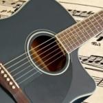 image of black guitar