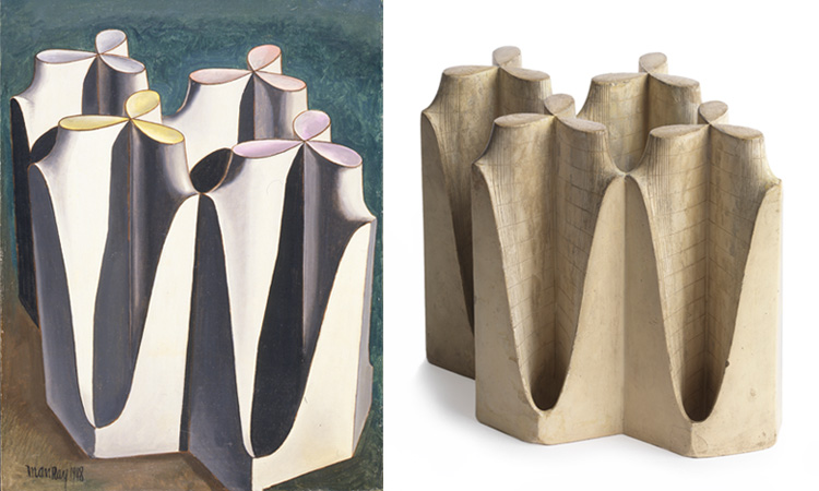 (left) Man Ray, Shakespearean Equation, Merry Wives of Windsor, 1948. Oil on canvas, 24 x 18 1/8 in. Private Collection, Courtesy Fondazione Marconi, Milan. © Man Ray Trust / Artists Rights Society (ARS), NY / ADAGP, Paris 2015 (right) Mathematical Object: Imaginary and Real Part of the Derivative of the Weierstrass Function, c.