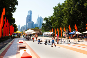 The Oval on the Benjamin Franklin Parkway in 2013. A design firm conceived a beach theme that was carried out the first year. Photo M. Fischetti for Visit Philadelphia!/GPTMC