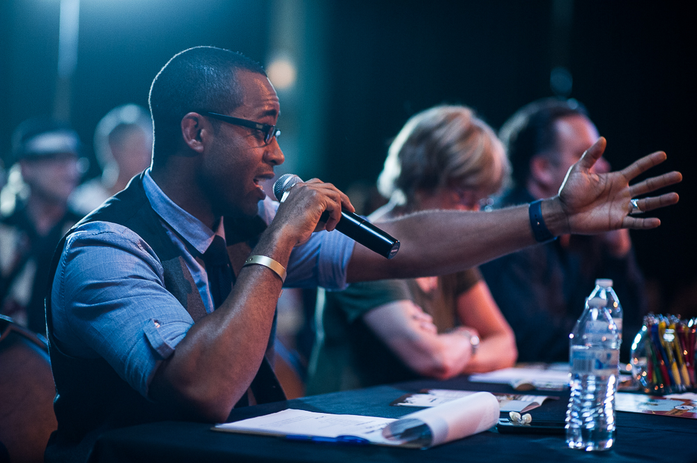 Christopher Brown and the celebrity judging panel / photo by Erica Ann Photography