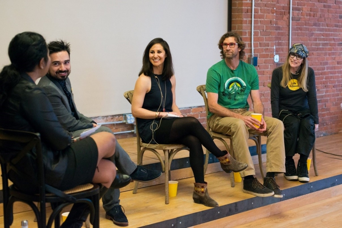The Boston Artweek panel featured moderator Elizabeth Segran, staff writer at Fast Company; Yazmany Arboleda; Elizabeth Thys; Bert Jacobs; and Colleen Clark.