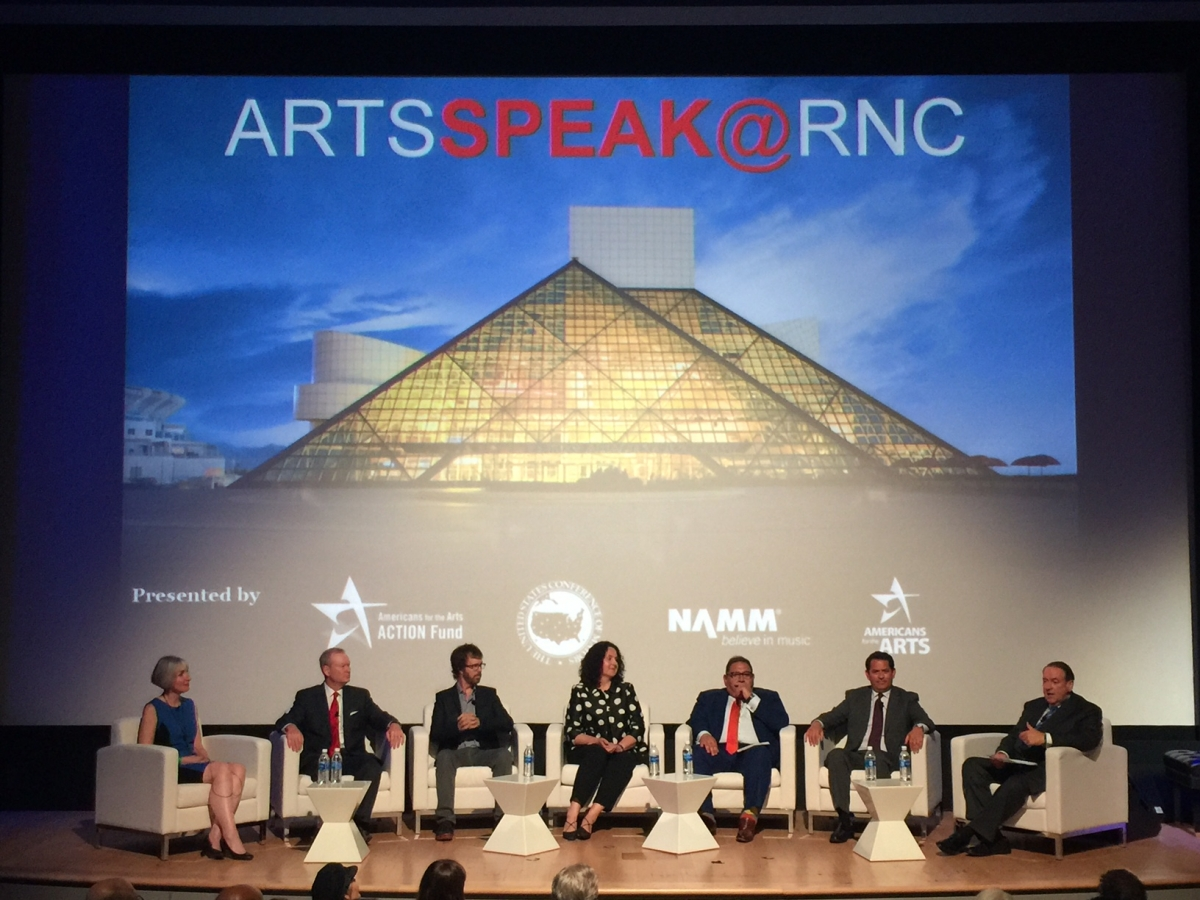 Governor and former presidential candidate Mike Huckabee moderated the ArtsSpeak panel at the RNC. Photo by Jamie Sabau, Getty Images.