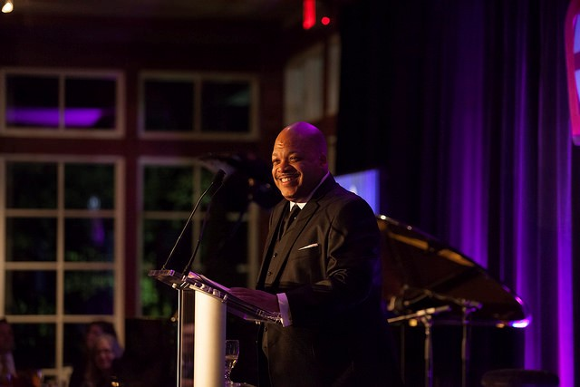 Floyd Green, Vice President of Community Relations and Urban Marketing at Aetna, gives acceptance speech for Aetna Inc.'s 2016 BCA Hall of Fame Award.