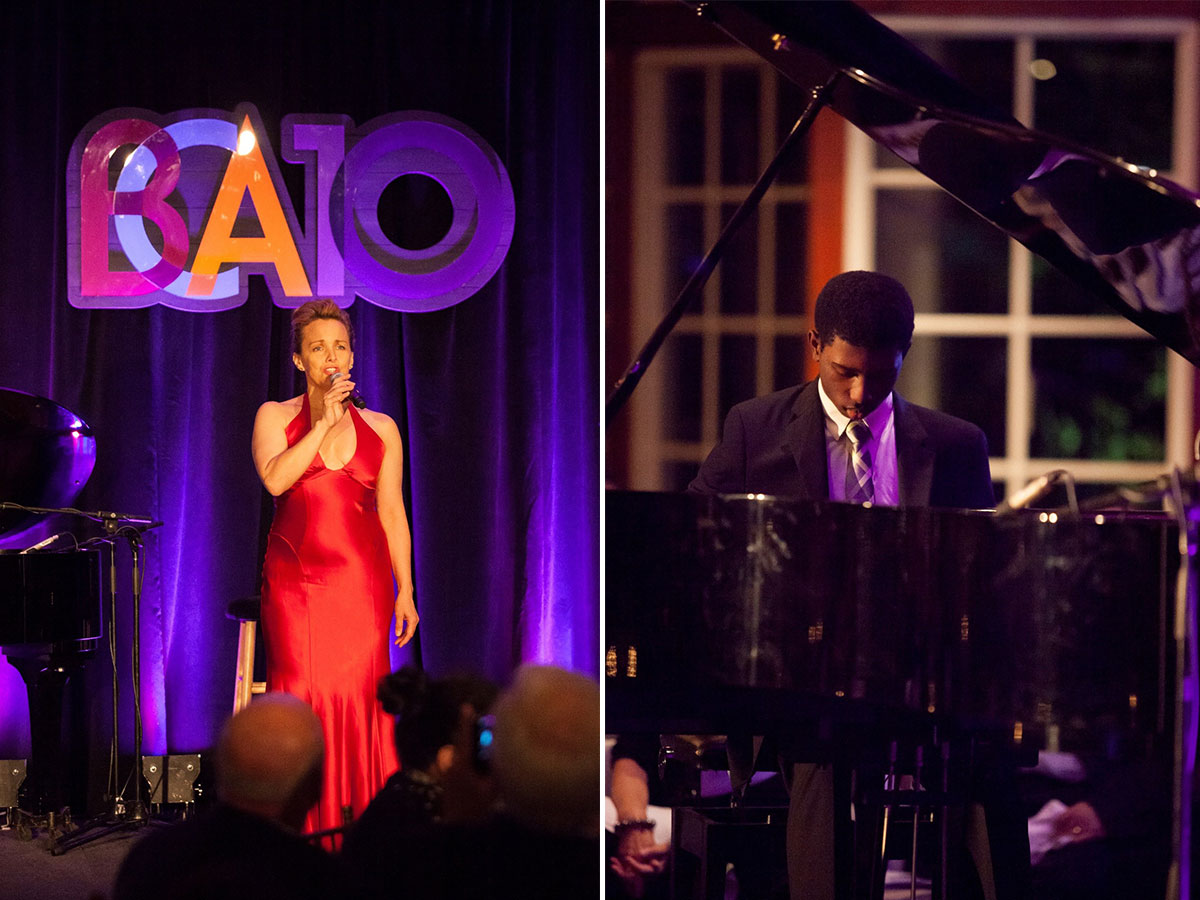 Left: Alice Ripley performs with Jessica Means on piano. Right: Julius Rodriguez performs.