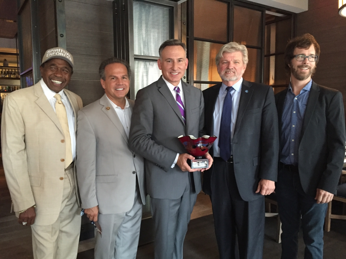 Dow Constantine (center) with Broadway legend Ben Vereen, Congressman David Cicilline (D-RI), Bob Lynch, and acclaimed singer-songwriter Ben Folds.