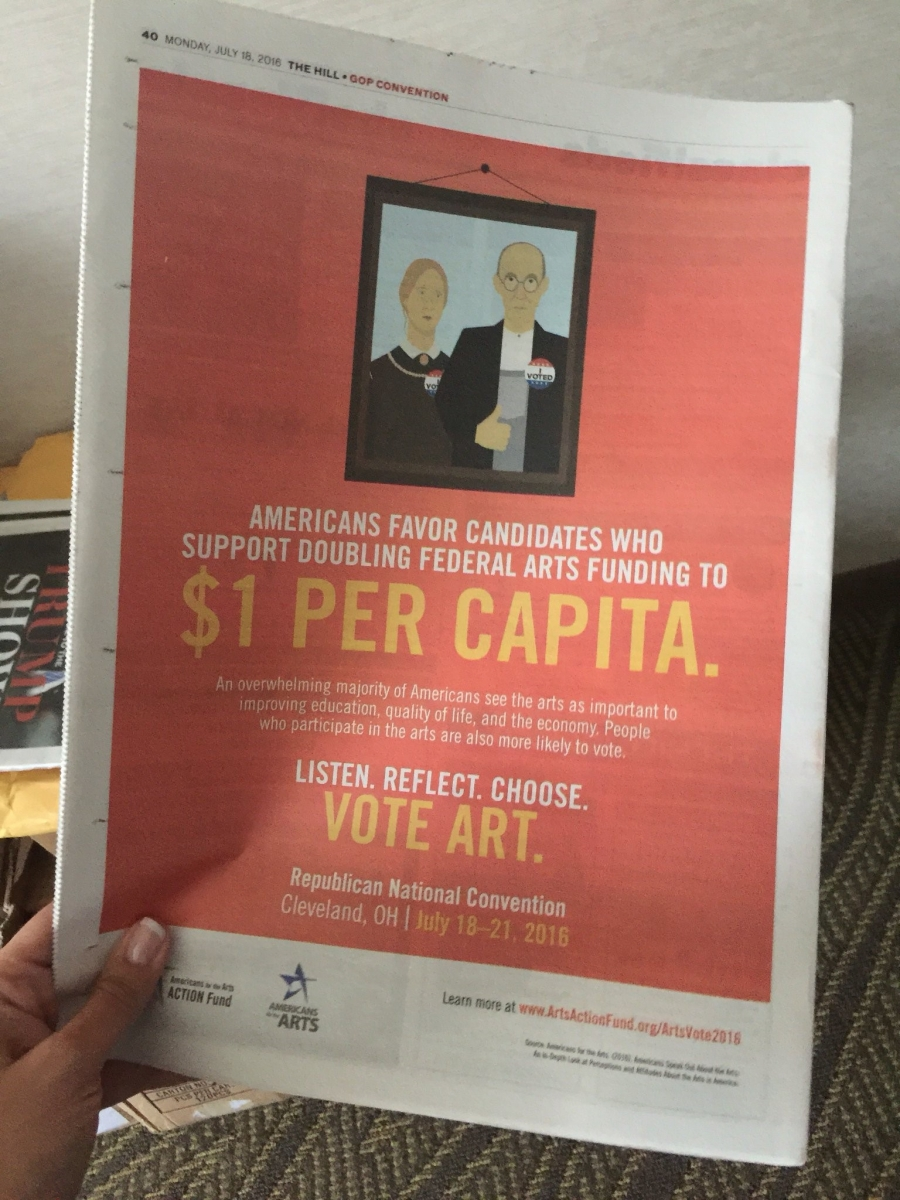This Arts Action Fund ad appeared on the back cover of The Hill, which was distributed for free at both conventions.
