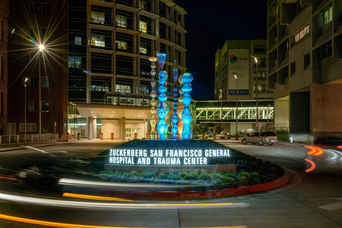 Ethereal Bodies 8 is an earthwork of grasses that elevates eight sculptures located on the traffic circle to the emergency entrance of the Zuckerberg Trauma Center at San Francisco General Hospital. (Photo: Jeremy Green)