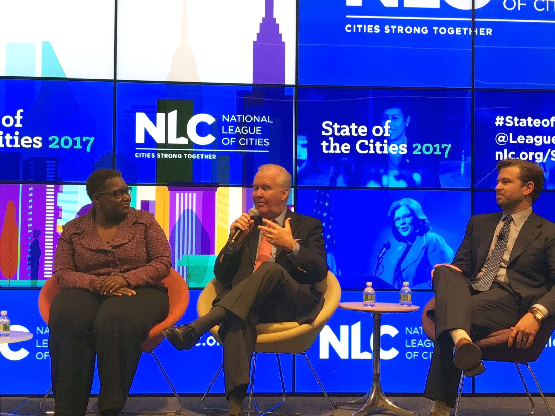 Gary, IN Mayor Karen Freeman-Wilson, Tampa, FL Mayor Bob Buckhorn, and NLC Senior Executive & Director, Center for City Solutions Brooks Rainwater at the State of the Cities Press Conference.