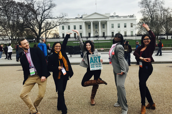 Arts advocates from the Illinois and Virginia delegations at Arts Advocacy Day 2017, participating in a danced demonstration at the White House. (Photo by Magnus Hunter)