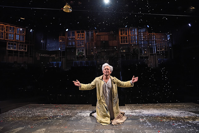 "Joe Wilson Jr. as Ebenezer Scrooge in ""A Christmas Carol,"" directed by Angela Brazil and Stephen Thorne. Costume design by Toni Spadafora, set design by Michael McGarty, lighting design by Dawn Chiang. Photo by Mark Turek."