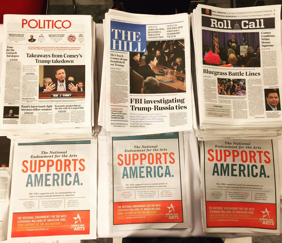 Ads that ran in three prominent Capitol Hill newspapers on Arts Advocacy Day, March 21, 2017.