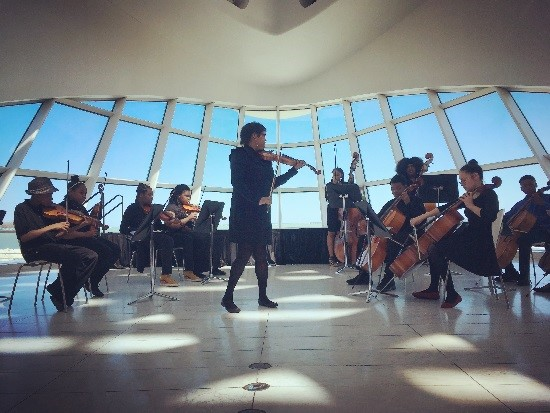 RMSA's orchestra performing an Alicia Keys song at the Milwaukee Art Museum.