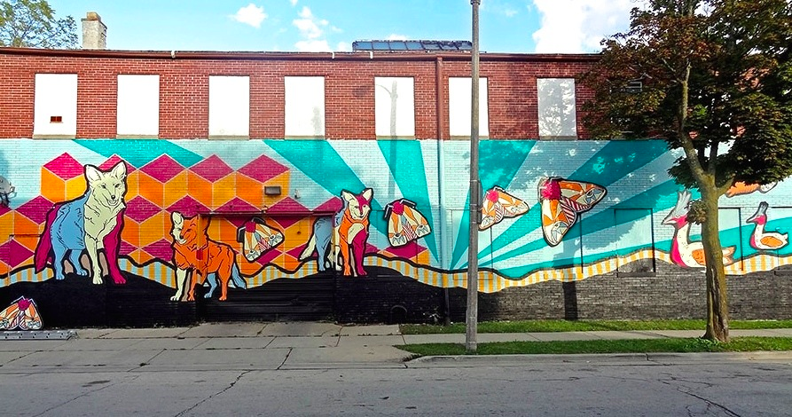 Mural created by Milwaukee Artist John Kowalczyk.