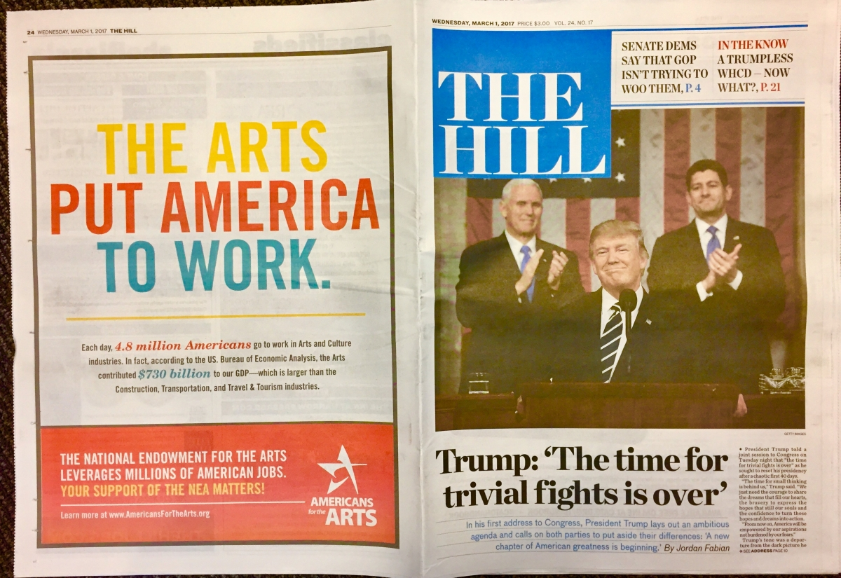 The prominent back page of The Hill the day after the President's first speech to Congress.