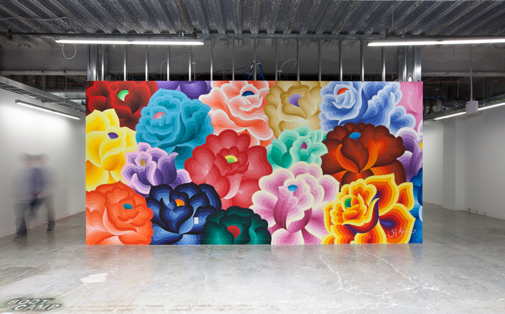 """Bouquet,"" a mural by Jet Martinez featured in Facebook's artist-in-residency program in Menlo Park, CA. Photo courtesy of The New York Times."