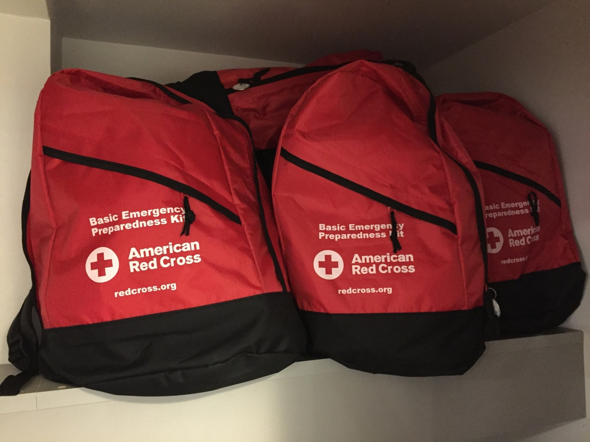 Red Cross emergency kits in the Americans for the Arts offices.
