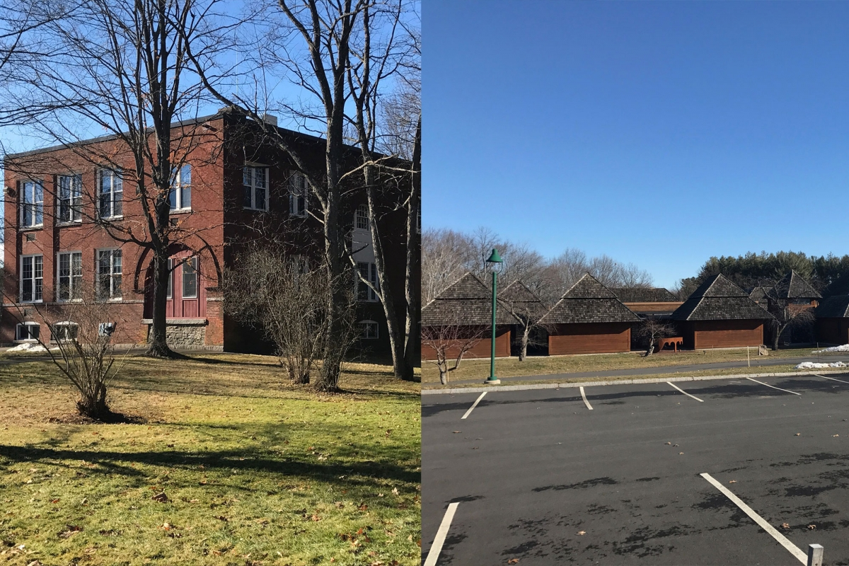 The original Yiddish Book Center (left) and the new Center, designed to look like a Russian Shtetl.
