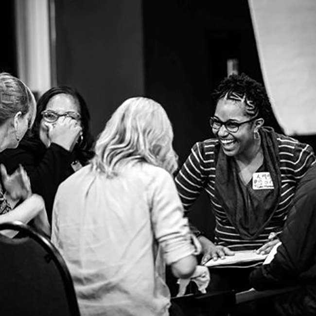 Participants broke up into small groups to discuss how they, as artists and community members, will be working together to address local and structural inequities in income, employment and wealth. Photo credit – Christine Rucker