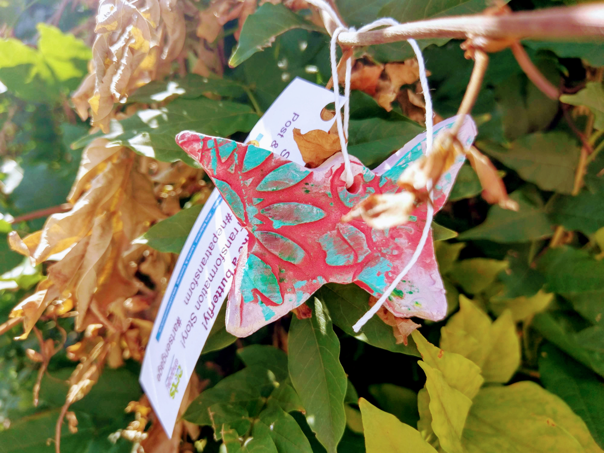 Butterflies painted by community groups were hung in the trees as part of the annual Lackawanna Arts Festival.