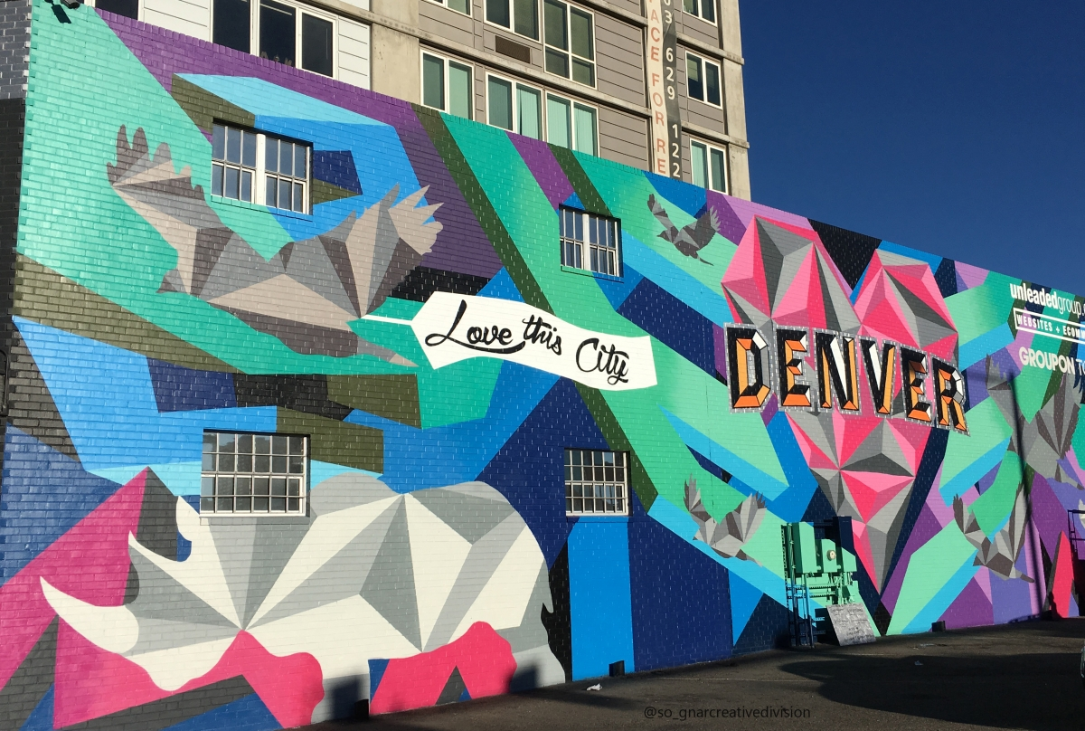 """Love This City"" mural. Photo by VISIT DENVER – So Gnar."