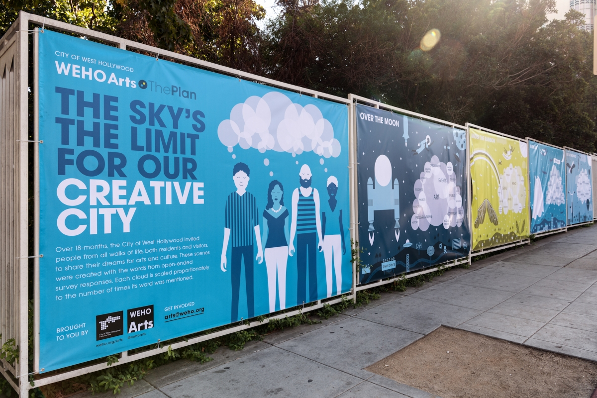Artist Sean Noyce's Dream Cloud banners installed in West Hollywood. Photo by Jon Viscott.