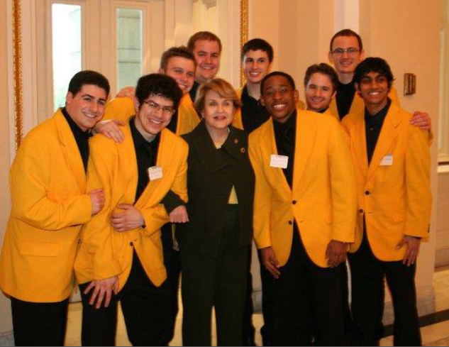 Rep. Slaughter congratulating the University of Rochester's Yellow Jackets, a collegiate a cappella group.