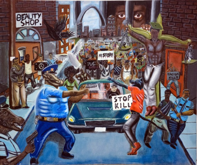"The removal of the painting ""Untitled #1"" by David Pulphus is the focus of the Capitol Hill controversy."