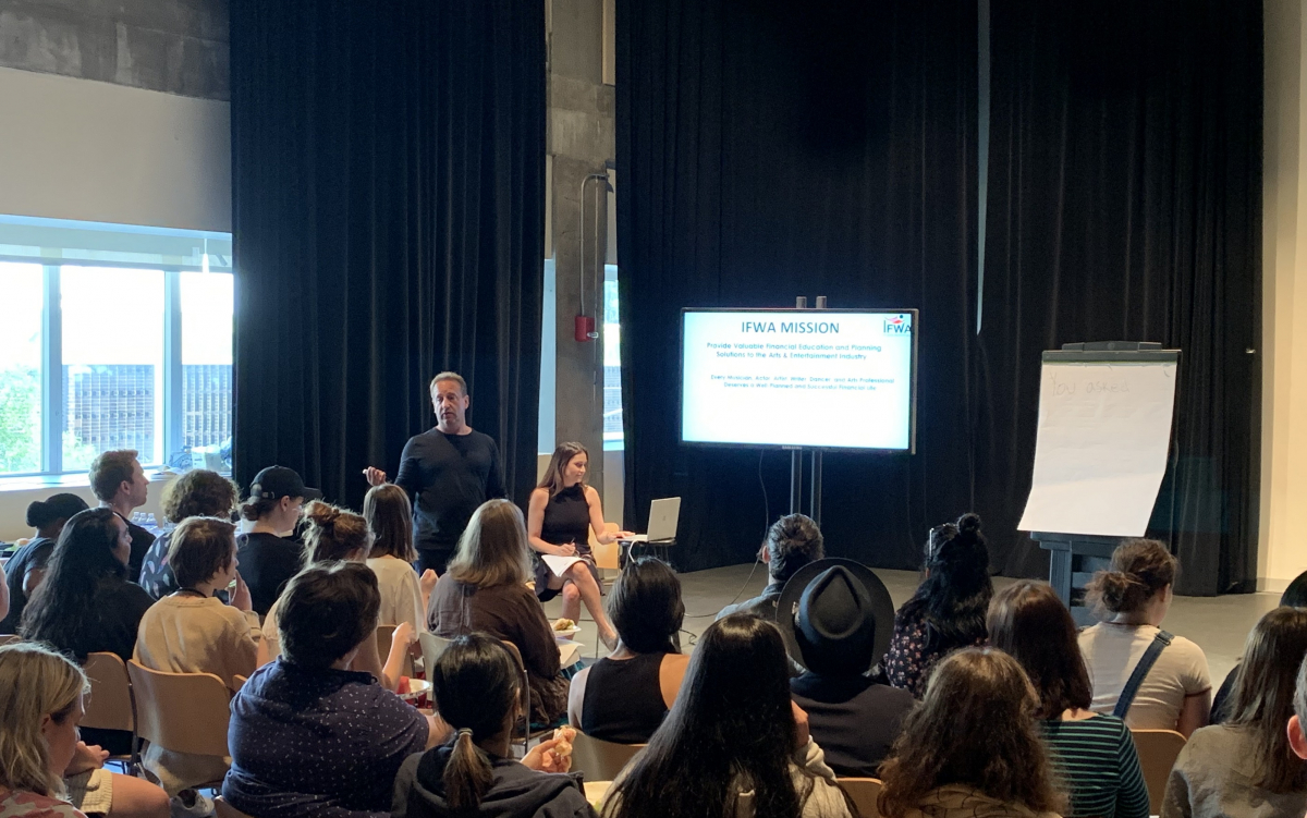 Darren Sussman gives an IFWA workshop at Signature Theatre in New York, July 2019. Photo by Laura Acker.