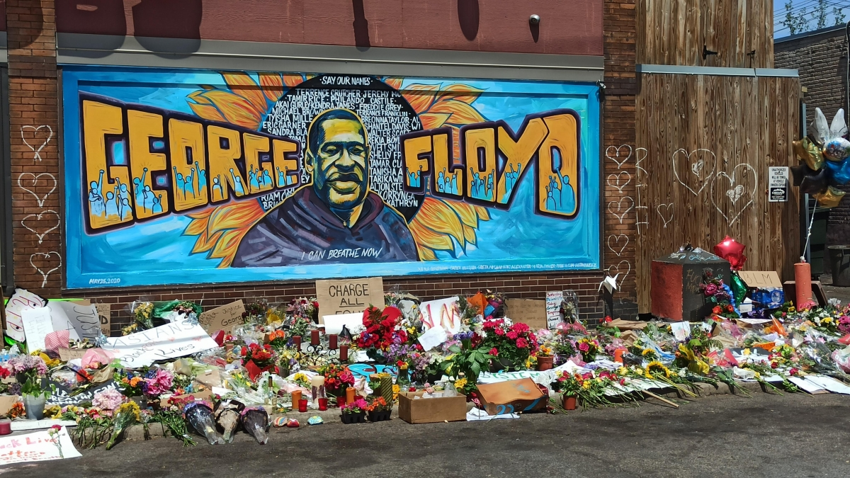 """Xena Goldman; Cadex Herrera; Greta McLain with Maria Javier; Niko Alexander; Pablo Helm Hernandez; Rachel Breen, """"I Can Breathe Now."""" This mural is located on the wall of Cup Foods in Minneapolis, Minnesota, near the site where George Floyd was murdered on May 25, 2020."""