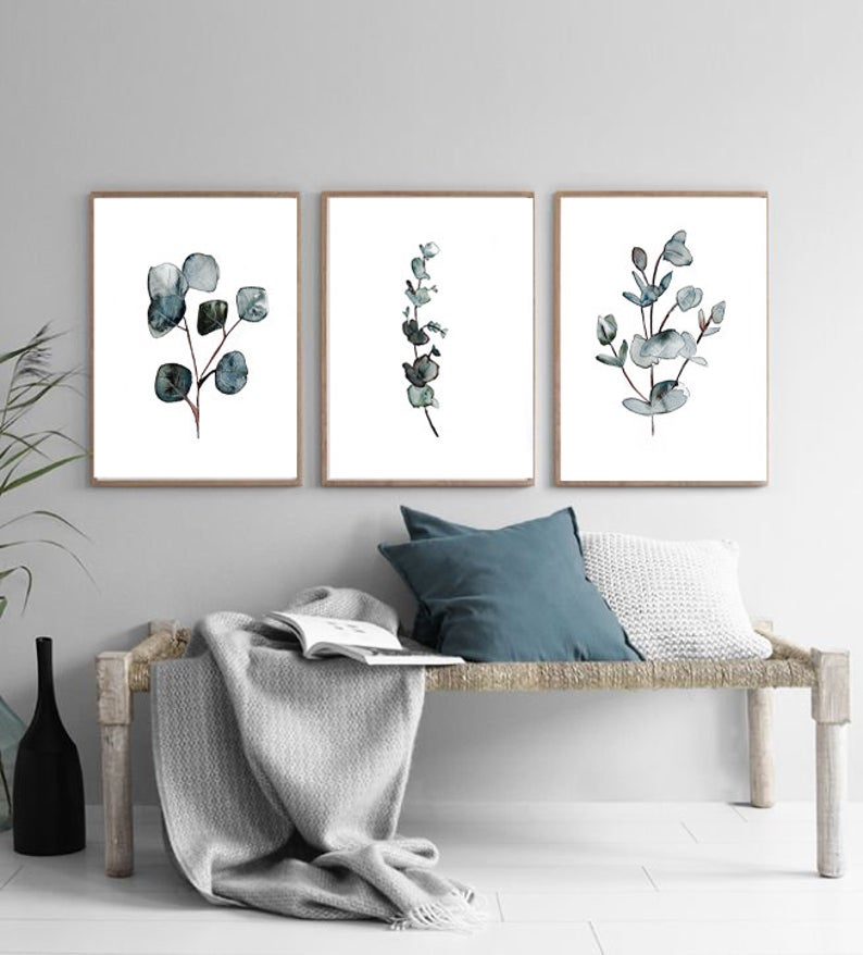 """Botanical Watercolor Trio, 21""""X28"""", by Shayda Windle"""