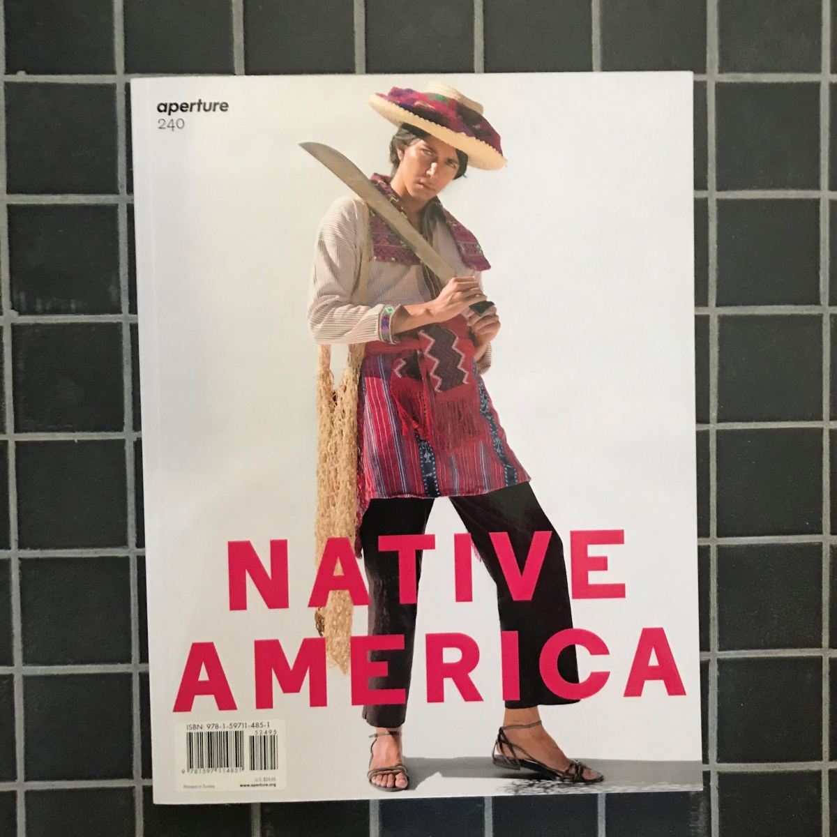 The cover of Aperture magazine issue no. 240 with the title Native America and a photo of a person wearing Indigenous clothing.