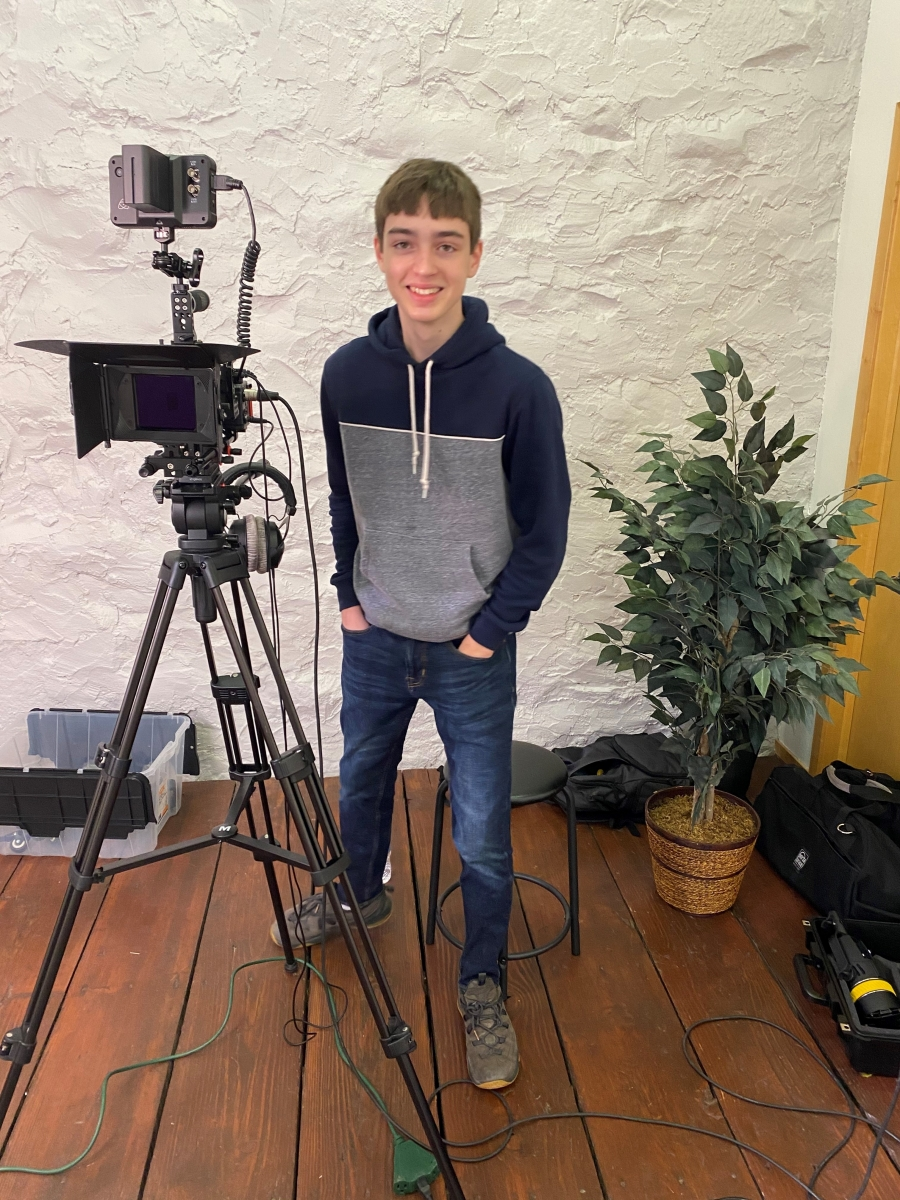 Sean Baker with his camera equipment
